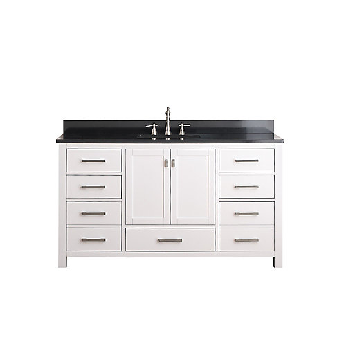 Modero 61-inch W 7-Drawer Freestanding Vanity in White With Granite Top in Black