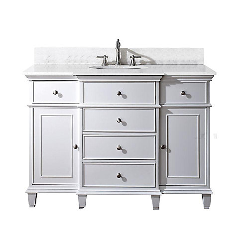 Windsor 49-inch W 5-Drawer Freestanding Vanity in White With Marble Top in White