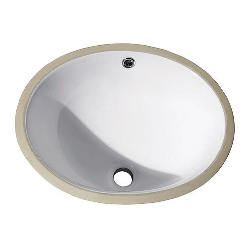 16-inch Oval Undermount Vitreous China Ceramic Sink in White