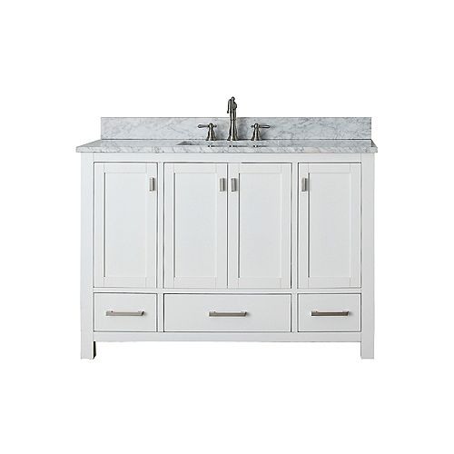 Modero 49-inch W 3-Drawer Freestanding Vanity in White With Marble Top in White