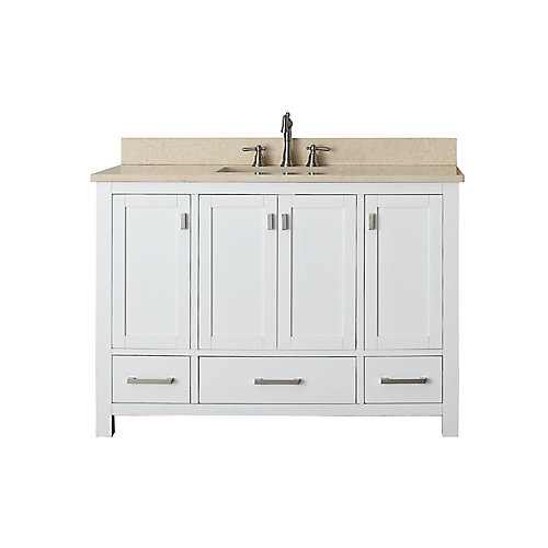 Modero 49-inch W 3-Drawer Freestanding Vanity in White With Marble Top in Beige Tan