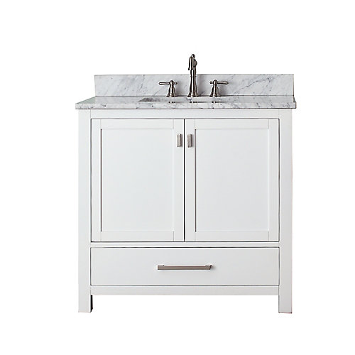 Modero 37-inch W 1-Drawer Freestanding Vanity in White With Marble Top in White