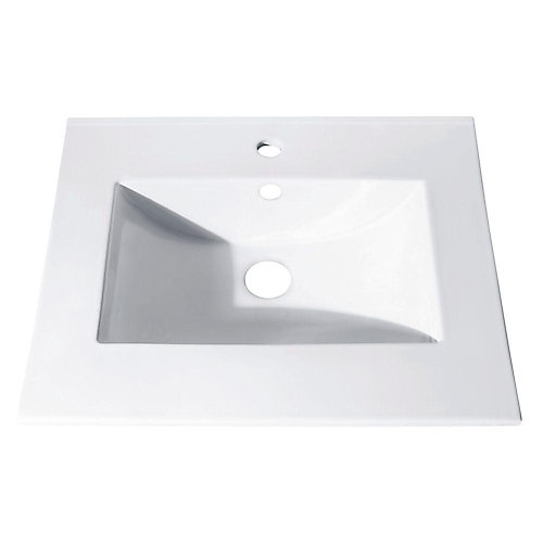 25-inch Vitreous China Vanity Top with Rectangular Bowl in White