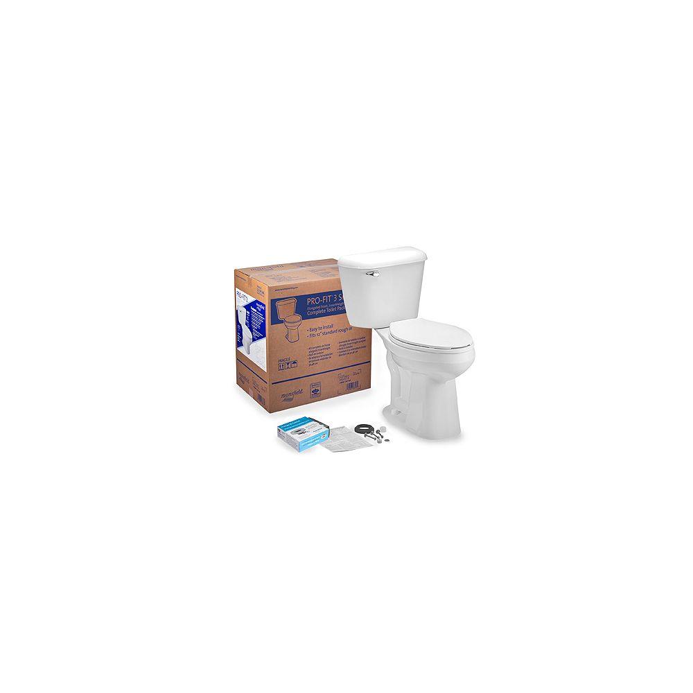 Mansfield Le Pro-Fit 3 - un WC dans une boîte 2 Piece Toilet allongée (en blanc)