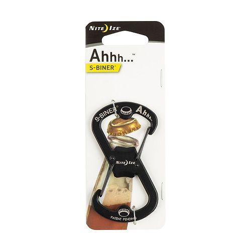Nite Ize Nite Ize Ahhh Dual Bottle Opener, S-Biner Dual Carabiner with Double-Sided Bottle Openers, Black