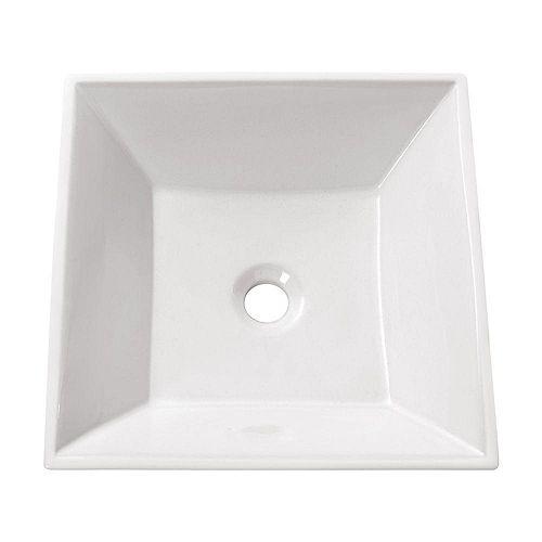 16.50-inch x 4.50-inch x 16.50-inch Square Bathroom Sink
