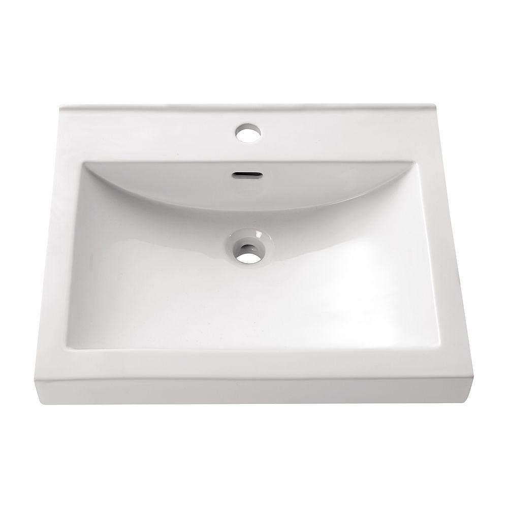 Avanity 21.7-inch Semi-Recessed Rectangular Sink in White