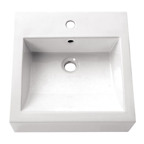 18-inch Square Vitreous China Vessel Sink in White