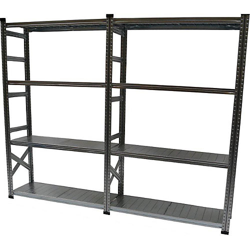 Heavy Duty 5-Shelf Basic Shelving Kit with Add On Shelf