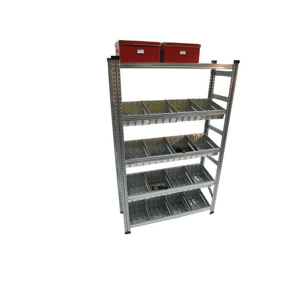 Metalsistem Ensemble d'étagere de fabrication robuste avec contenant modulaire