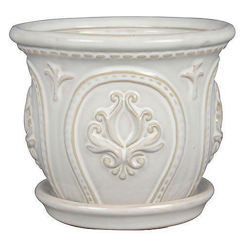 10 inch Classical Ornate Ceramic Planter, White