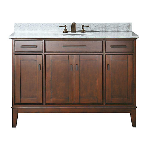 Madison 49-inch W 2-Drawer Freestanding Vanity in Brown With Marble Top in White