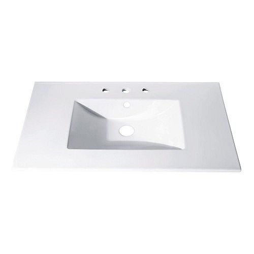 31-inch x 22-inch Vitreous China Vanity Top with Rectangular Bowl in White
