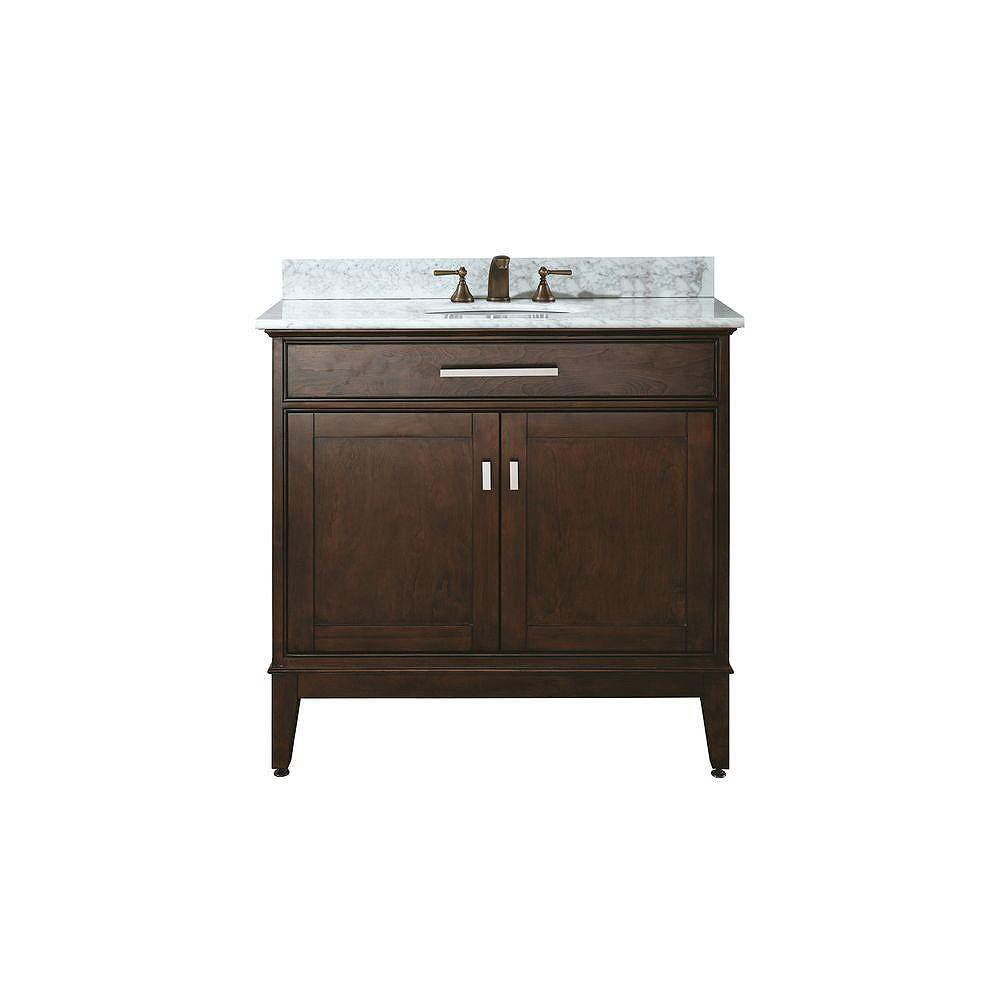 Avanity Madison 37-inch W Freestanding Vanity in Brown With Marble Top in White