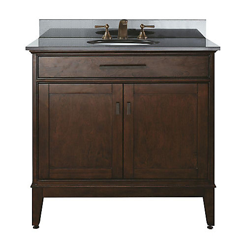 Madison 37-inch W Freestanding Vanity in Brown With Granite Top in Black