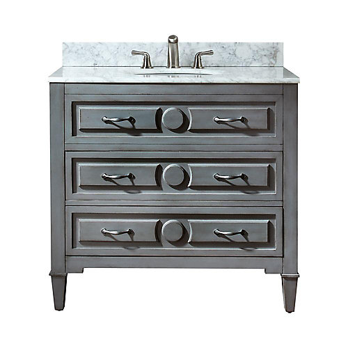 Kelly 37-inch W 2-Drawer Freestanding Vanity in Grey With Marble Top in White