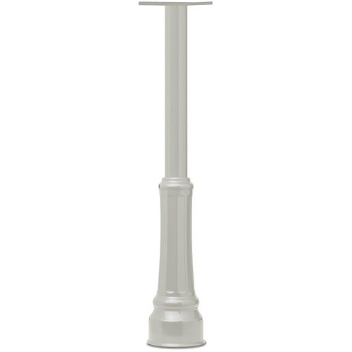 White Basic In-ground Round Post with Decorative Cover