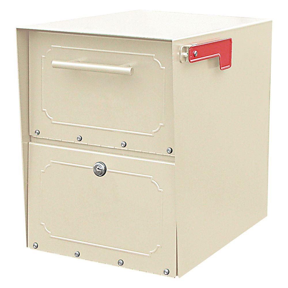 Architectural Mailboxes Boîte aux lettres verrouillable Oasis Jr. de couleur sable à montage sur piédestal
