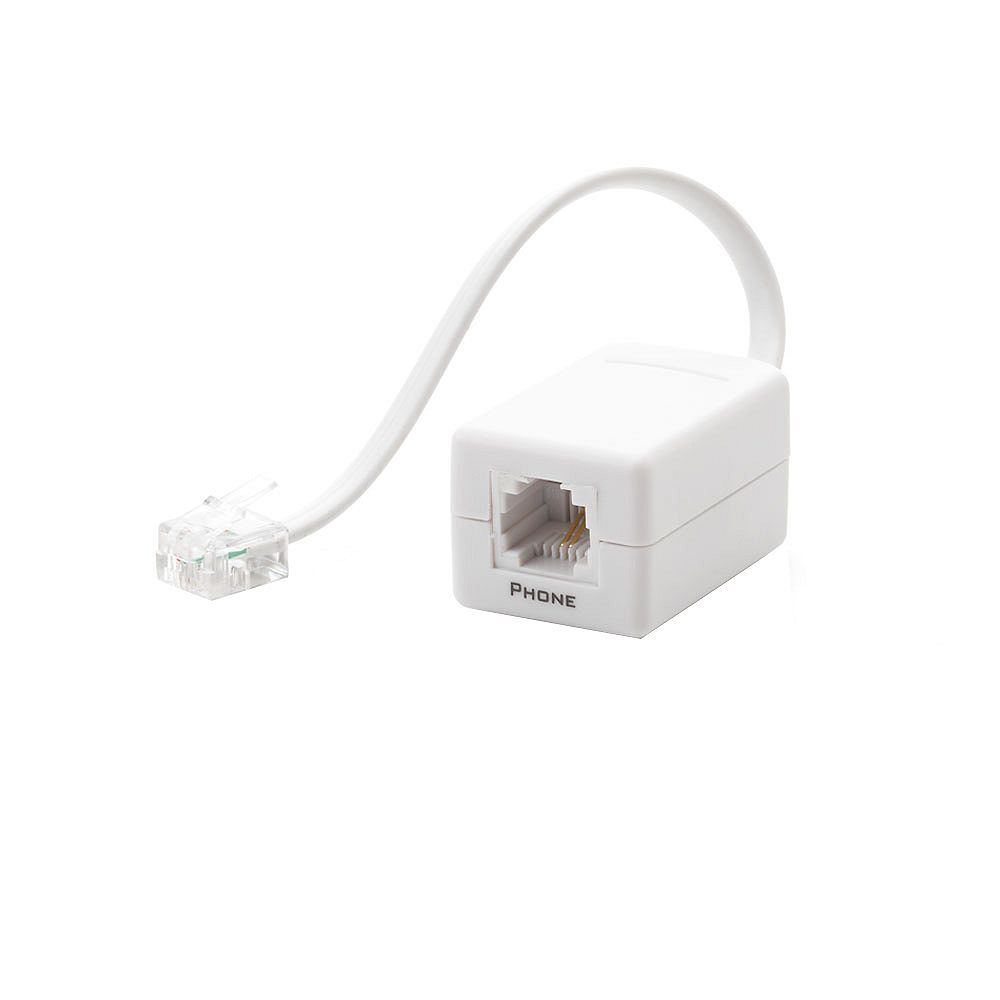 Commercial Electric DSL Filter with Dual F-Connector Wall Plate in White
