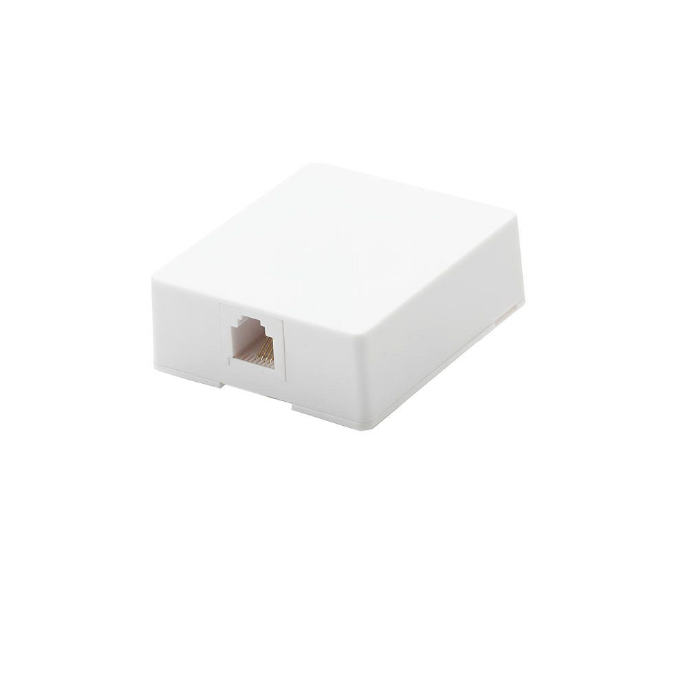 Commercial Electric Surface Mount Telephone Jack, White