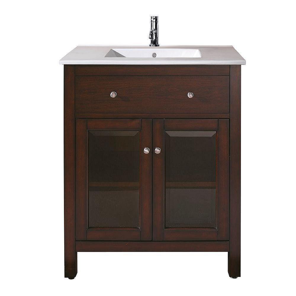 Avanity Lexington 25-inch W 2-Door Freestanding Vanity in Brown With Ceramic Top in White