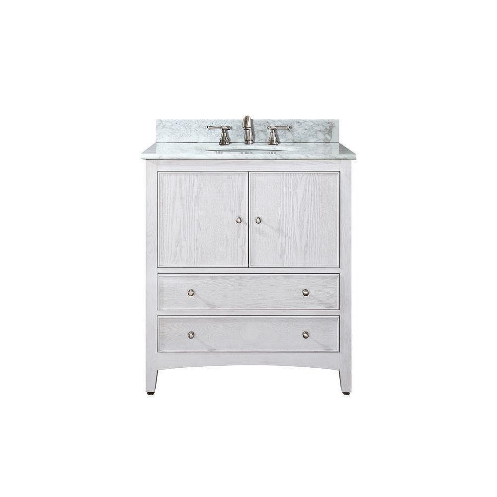 Avanity Meuble-lavabo Westwood de 24 po au fini blanchi avec lavabo et comptoir en marbre de Carrare blanc (Robinet non inclus)