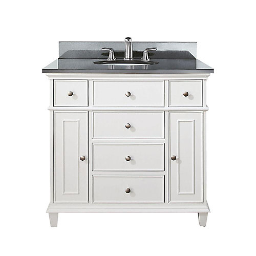 Windsor 37-inch W 5-Drawer Freestanding Vanity in White With Granite Top in Black