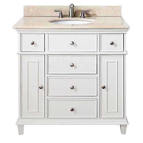 Windsor 37-inch W 5-Drawer Freestanding Vanity in White With Marble Top in Beige Tan