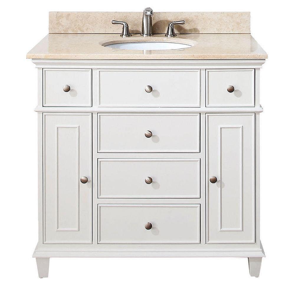 Avanity Meuble-lavabo Windsor de 36 po blanc avec lavabo encastré et comptoir en marbre beige au fini Galala (Robinet non inclus)