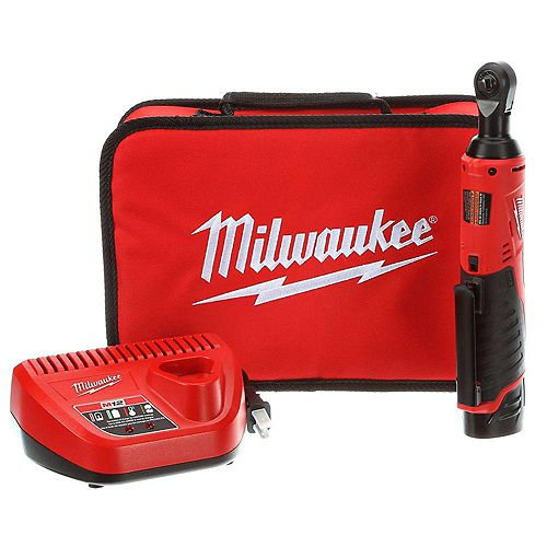 Milwaukee Tool M12 12V Lithium-Ion Cordless 1/4 -Inch Ratchet Kit W/ (1) 1.5Ah Battery, Charger and Tool Bag