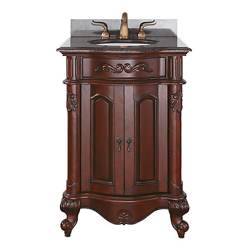 Provence 25-inch W 1-Drawer Freestanding Vanity in Brown With Granite Top in Brown