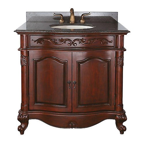 Provence 37-inch W 1-Drawer Freestanding Vanity in Brown With Granite Top in Brown