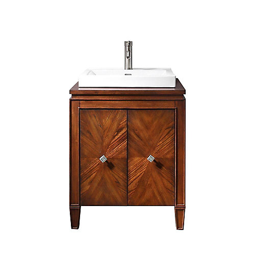 Brentwood 25-inch W 2-Door Freestanding Vanity in Brown With Ceramic Top in White