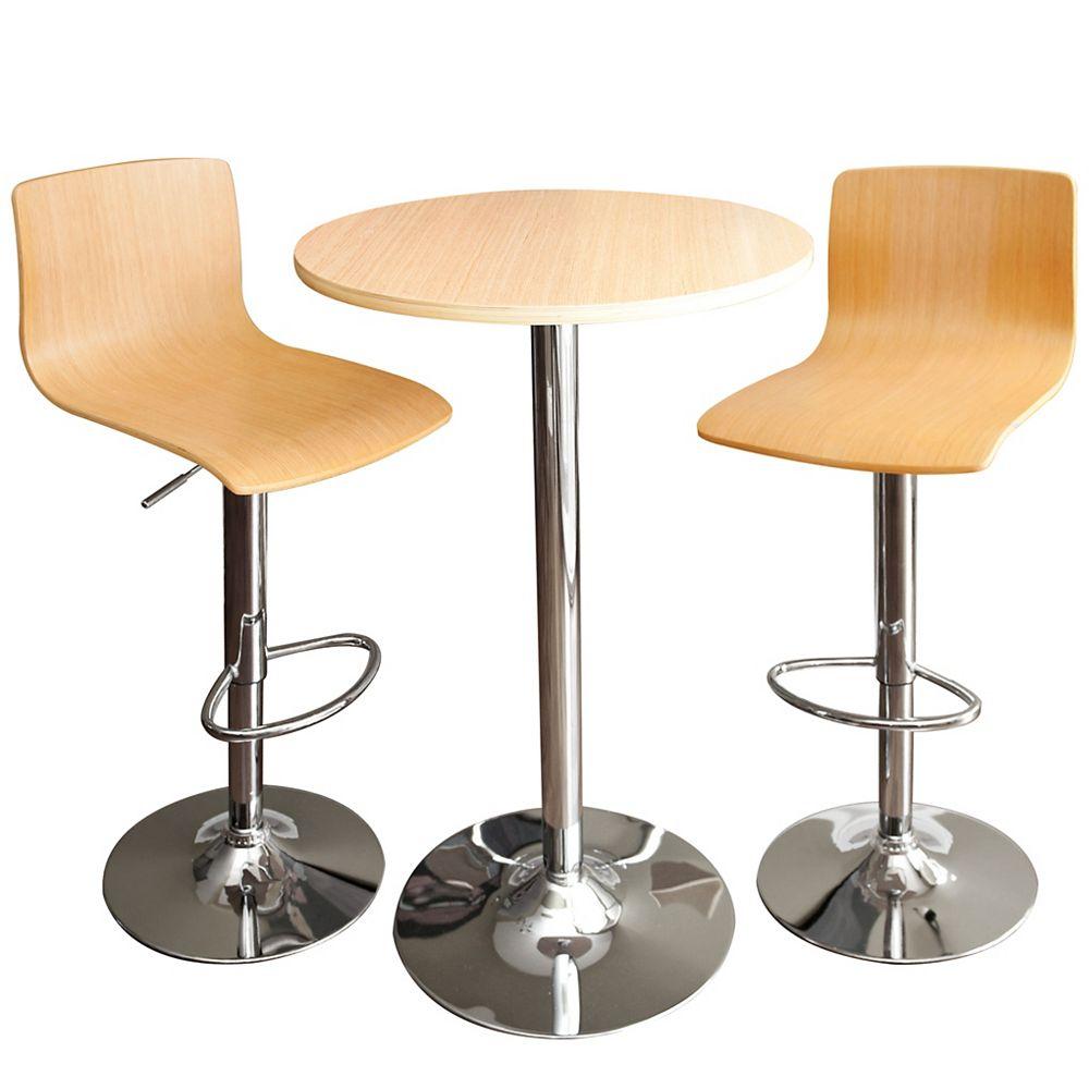 RST Living Tabourets et table de bar en érable MELROSE 3 pièces