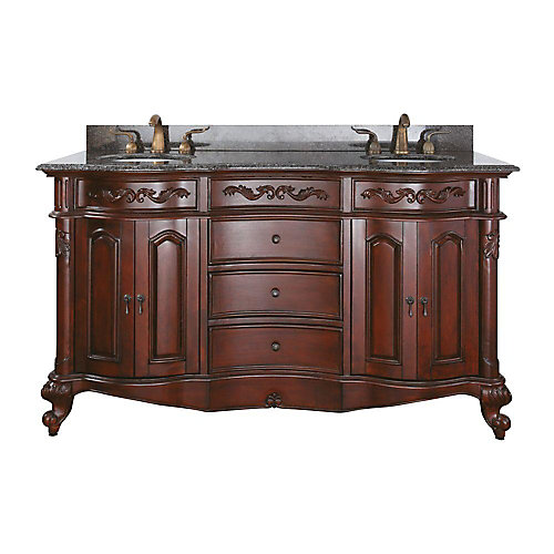 Provence 61-inch W 3-Drawer Freestanding Vanity in Brown With Granite Top in Brown, Double Basins