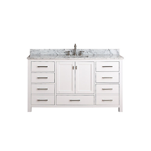 Modero 61-inch W 7-Drawer Freestanding Vanity in White With Marble Top in White