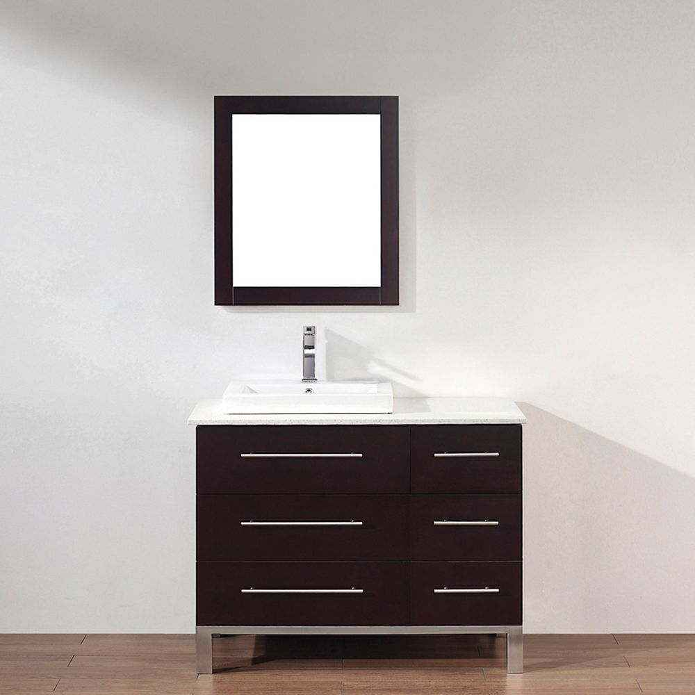 Art Bathe Ginza 42-inch W 4-Drawer 1-Door Vanity in Brown With Quartz Top in Brown With Faucet And Mirror
