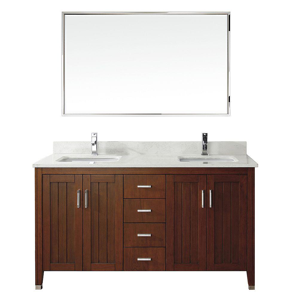 Art Bathe Jackie 60-inch W 6-Drawer 4-Door Vanity in Brown With Marble Top in Grey, Double Basins