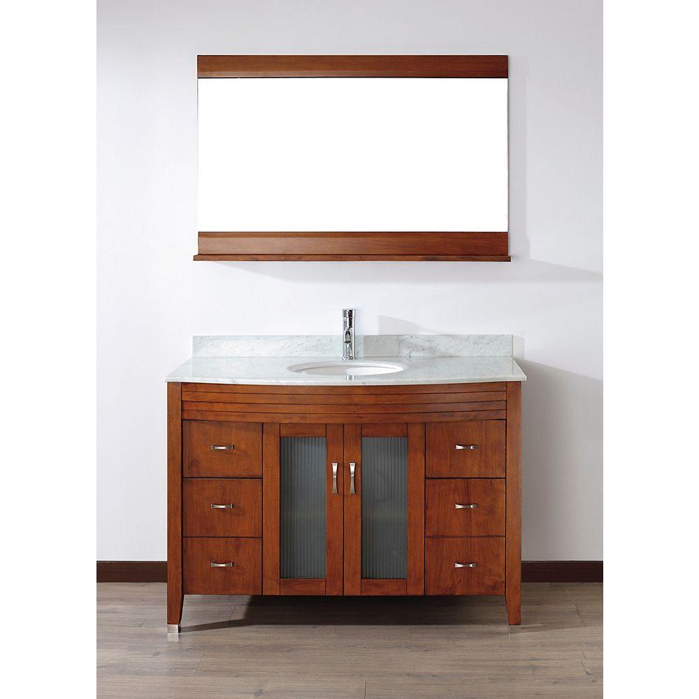 Art Bathe Vanité Alba 48 de couleur cerise classique avec miroir et robinet