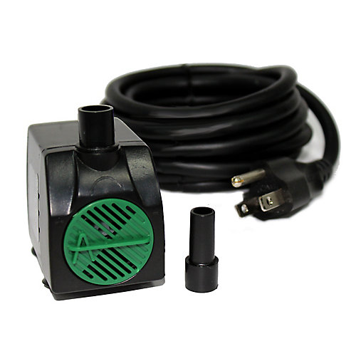 100GPH Fountain Pump, 27-inch Pumping Height, Variable Flow, 3/8 inch and ½ inch Tubing Compatible, 10ft Cord