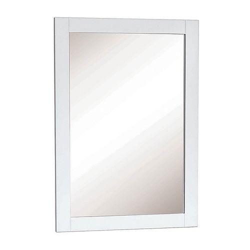 Miroir encadré blanc de 18 po