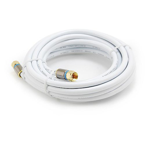 15 Feet  WHITE RG6 COAXIAL CABLE