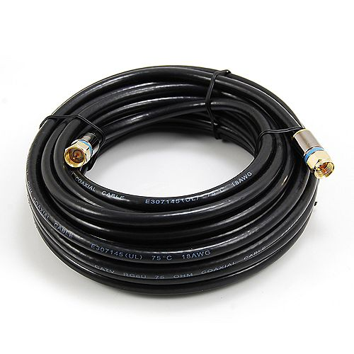 25 ft. RG6 Quad Shielded Coax Cable in Black