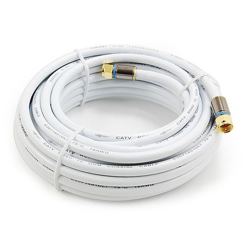 25 ft. RG6 Coaxial Cable in White