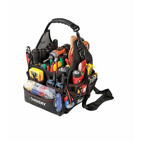 Husky 10-inch Electrician Tool Bag with Driver Wall