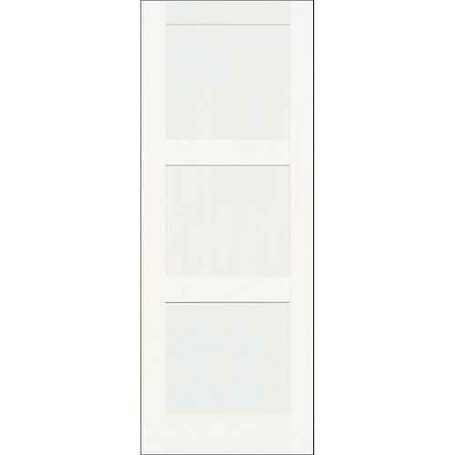 A Zen 30-inch x 80-inch Primed 3-Panel Shaker Door