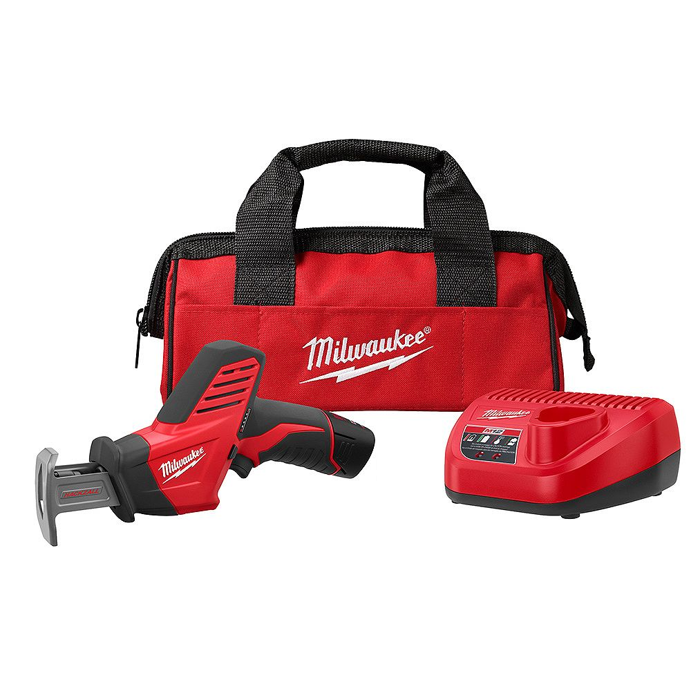 Milwaukee Tool Scie alternative Hackzall sans fil M12 au lithium-ion, 12V; 1batt. de 1,5Ah, charg., sac à outils
