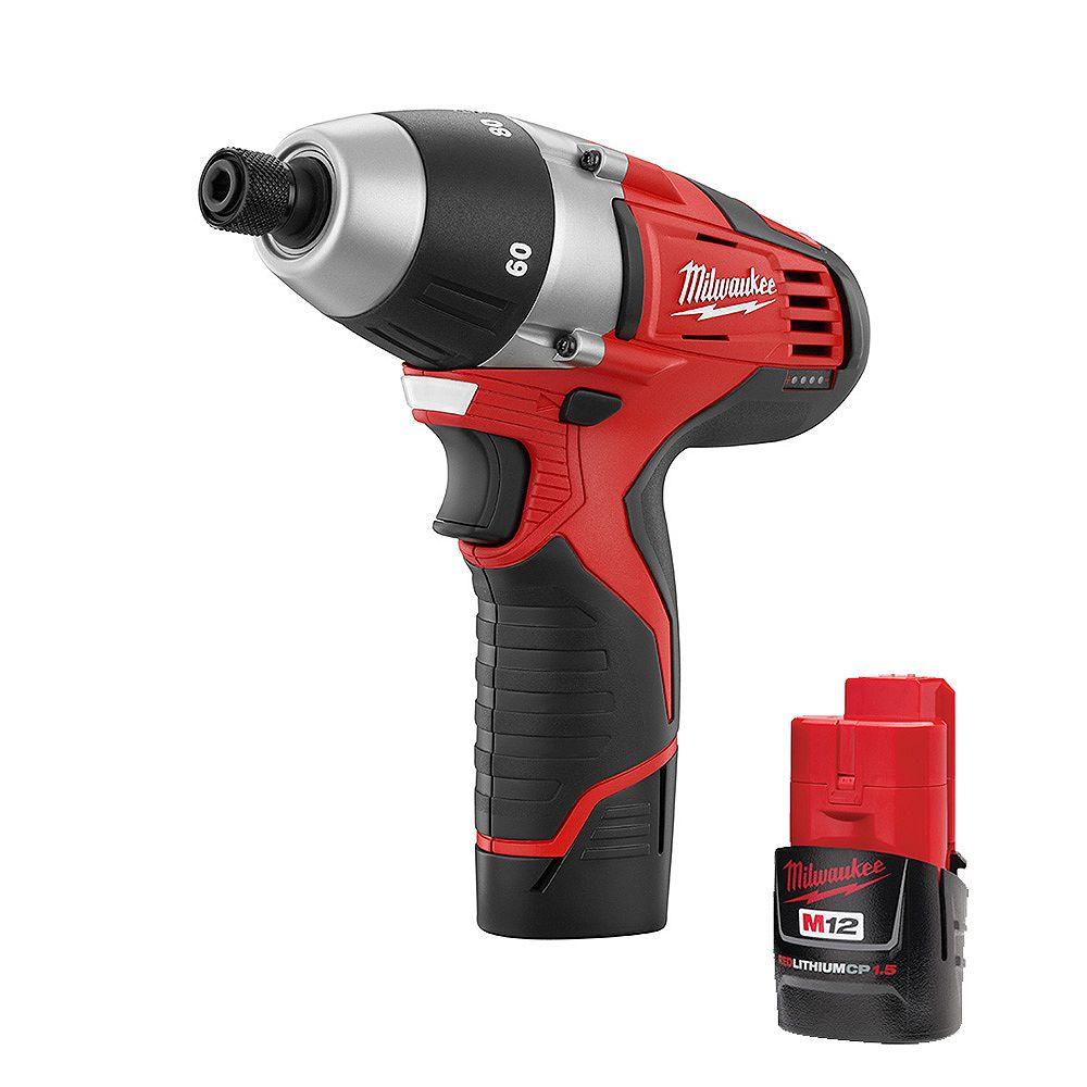 Milwaukee Tool M12 12V Lithium-Ion sans fil sans fil Kit d'alimentation sans moyeu hexagonal 1/4 pouce sans fil avec (2) piles 1.5Ah et étui rigide