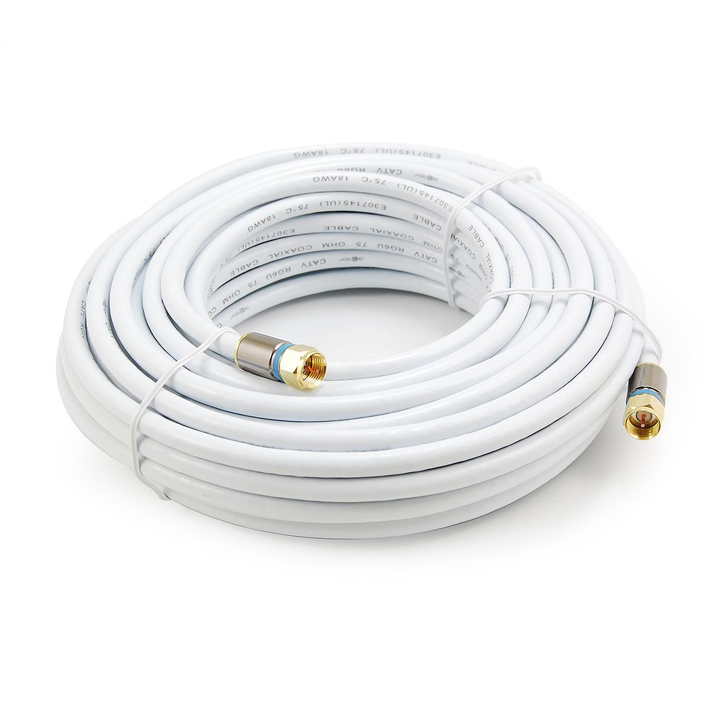 Commercial Electric 50 ft. RG6 Coaxial Cable in White