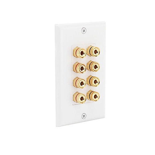 Speaker Wall Plate with 8 Binding Posts
